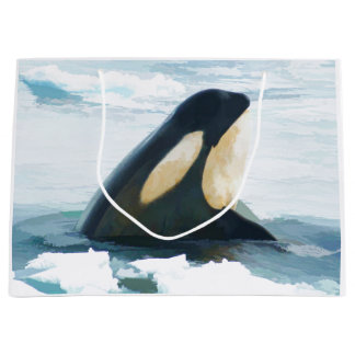 Orca Whale Spyhop blue Large Gift Bag