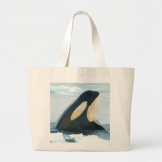 Orca Whale Spyhop blue Large Tote Bag