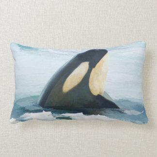 Orca Whale Spyhop blue Lumbar Cushion