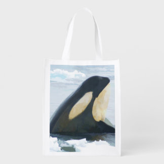 Orca Whale Spyhop blue Reusable Grocery Bag