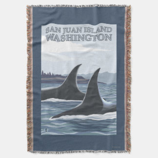 Orca Whales #1 - San Juan Island, Washington Throw Blanket