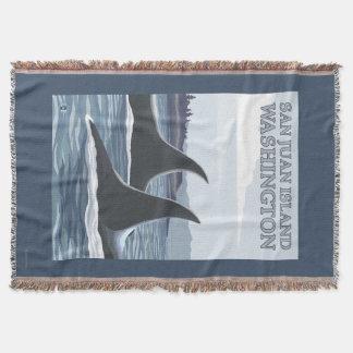 Orca Whales #1 - San Juan Island, Washington Throw Blanket