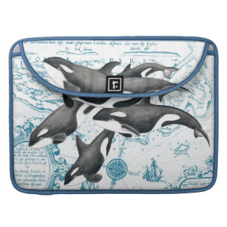 Orca  whales ancient blue sleeve for MacBook pro