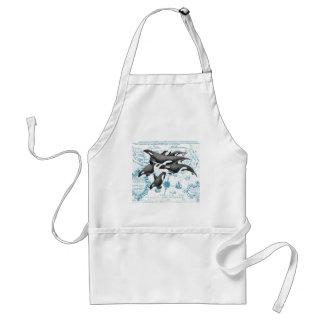Orca  whales ancient blue standard apron