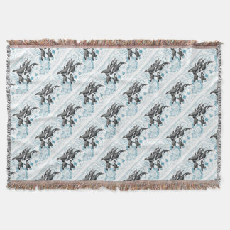 Orca  whales ancient blue throw blanket