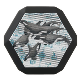 Orca whales family ancient blue black bluetooth speaker