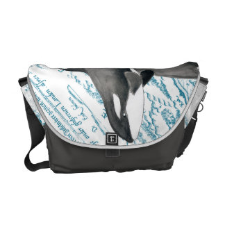 Orca whales family ancient blue commuter bag