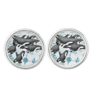 Orca whales family ancient blue cufflinks