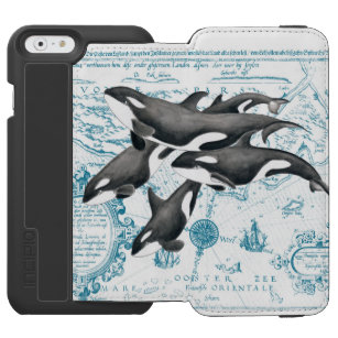 Orca whales family ancient blue incipio watson™ iPhone 6 wallet case