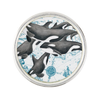 Orca whales family ancient blue lapel pin