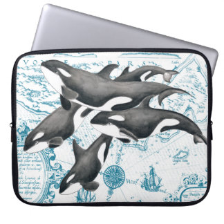 Orca whales family ancient blue laptop sleeve