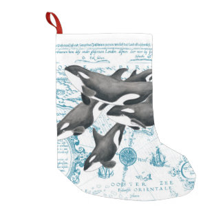 Orca whales family ancient blue small christmas stocking