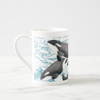 Orca whales family ancient blue tea cup
