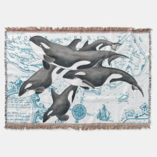 Orca whales family ancient blue throw blanket