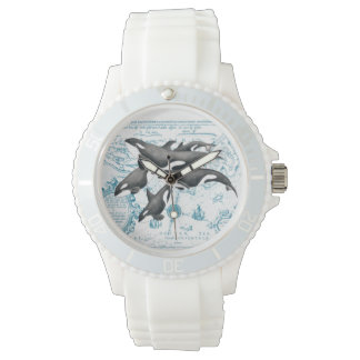 Orca whales family ancient blue watch