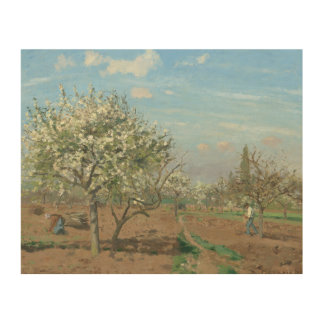 Orchard in Bloom, Louveciennes  France by Pissarro Wood Print