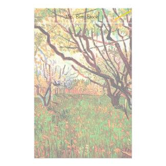 Orchard in Blossom by Vincent van Gogh.  Fine art, Custom Stationery