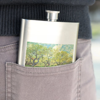 Orchard in Blossom, Vincent van Gogh Hip Flask