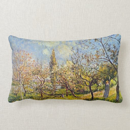 Orchard in spring by Alfred Sisley Pillows