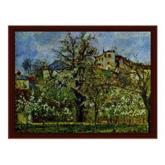 Orchard Of Flowering Trees By Pissarro Camille Postcard