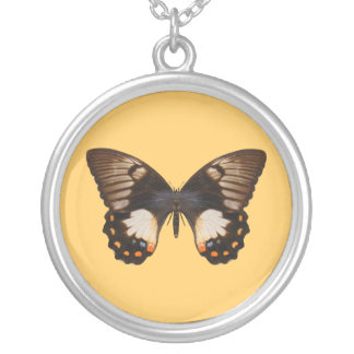 Orchard Swallow Tail Butterfly Round Pendant Necklace
