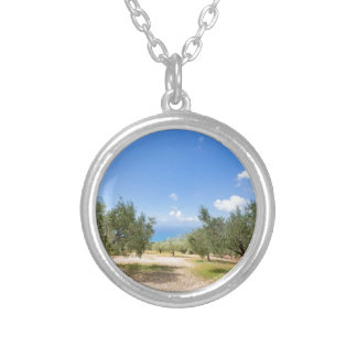 Orchard with olive trees at sea in  Greece Silver Plated Necklace