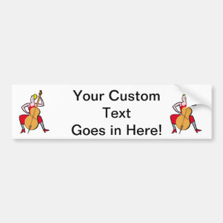Orchestra bass player blonde female red dress.png bumper sticker