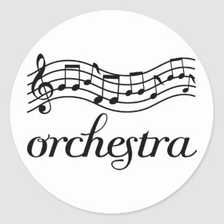 Orchestra Black Staff Classic Round Sticker