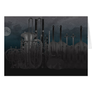 Orchestra Instrument Nighttime Skyline Card