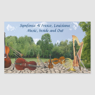 Orchestra Instruments in Park, Oblong Sticker