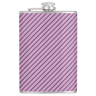 Orchid and Black Stripe Hip Flask