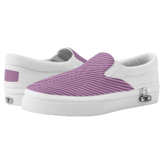 Orchid and Black Stripe Slip-On Shoes