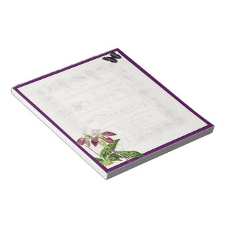 Orchid and butterfly botanical notepad