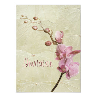 Orchid and Leaf texture Invitation