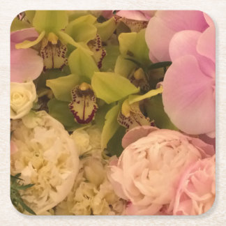 Orchid and Peony paper coaster, wedding coaster