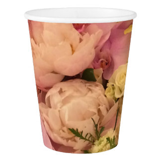 Orchid and Peony paper cup, wedding paper cup