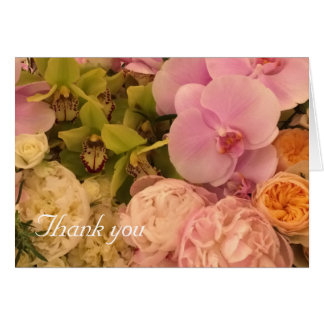 Orchid and Peony Thank You card