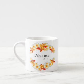 Orchid and Plumeria Flowers, Elegant I Love You Espresso Cup