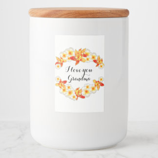Orchid and Plumeria Flowers, Elegant I Love You Food Label