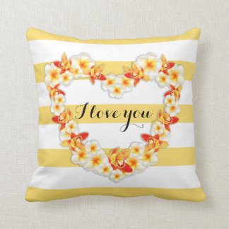 Orchid and Plumeria Flowers, Elegant I Love You Throw Pillow