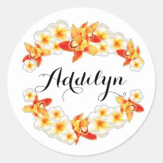 Orchid and Plumeria Flowers, Elegant Round Sticker