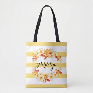 Orchid and Plumeria Flowers, Elegant Tote Bag