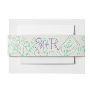 Orchid and Teal Bohemian Flower Wedding Belly Band Invitation Belly Band