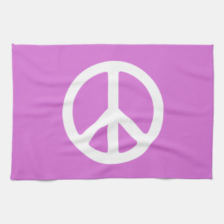Orchid and White Peace Symbol Hand Towel