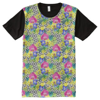 Orchid Begonia And Palm Leaves All-Over Print T-Shirt