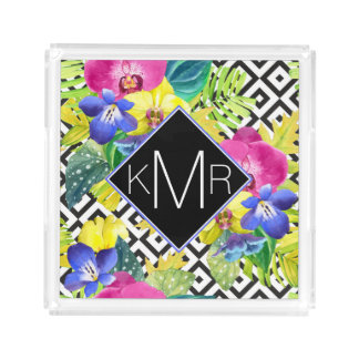 Orchid Begonia And Palm Leaves | Monogram