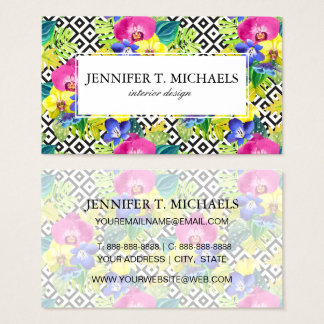 Orchid Begonia And Palm Leaves | Monogram Business Card