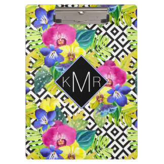 Orchid Begonia And Palm Leaves   Monogram Clipboards