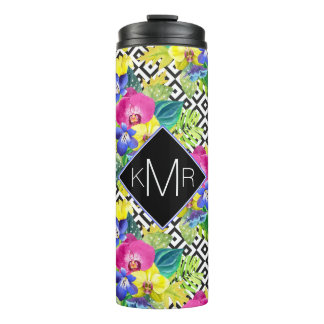 Orchid Begonia And Palm Leaves | Monogram Thermal Tumbler