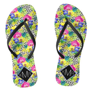 Orchid Begonia And Palm Leaves   Monogram Thongs
